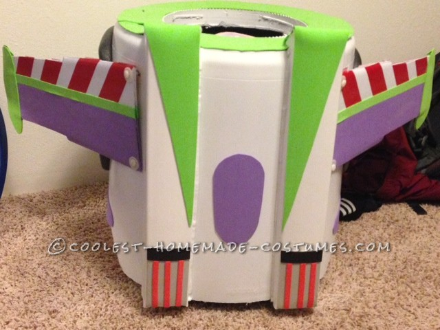 Best Buzz Lightyear Costume Ever!: The main construction of the Buzz Lightyear costume is in a garbage can turned upside down. I then marked up the garbage with the desired shape.  On