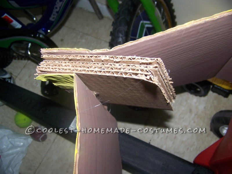 The tricky part of the nose. Thick cardboard wedge.