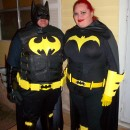 """Caped-Crusader Batman and Batgirl Couple Halloween Costumes: Our caped-crusader Batman and Batgirl Couple Halloween Costumes started a month ago. We decided to home make these special costumes. I """"Batman """" sta"""