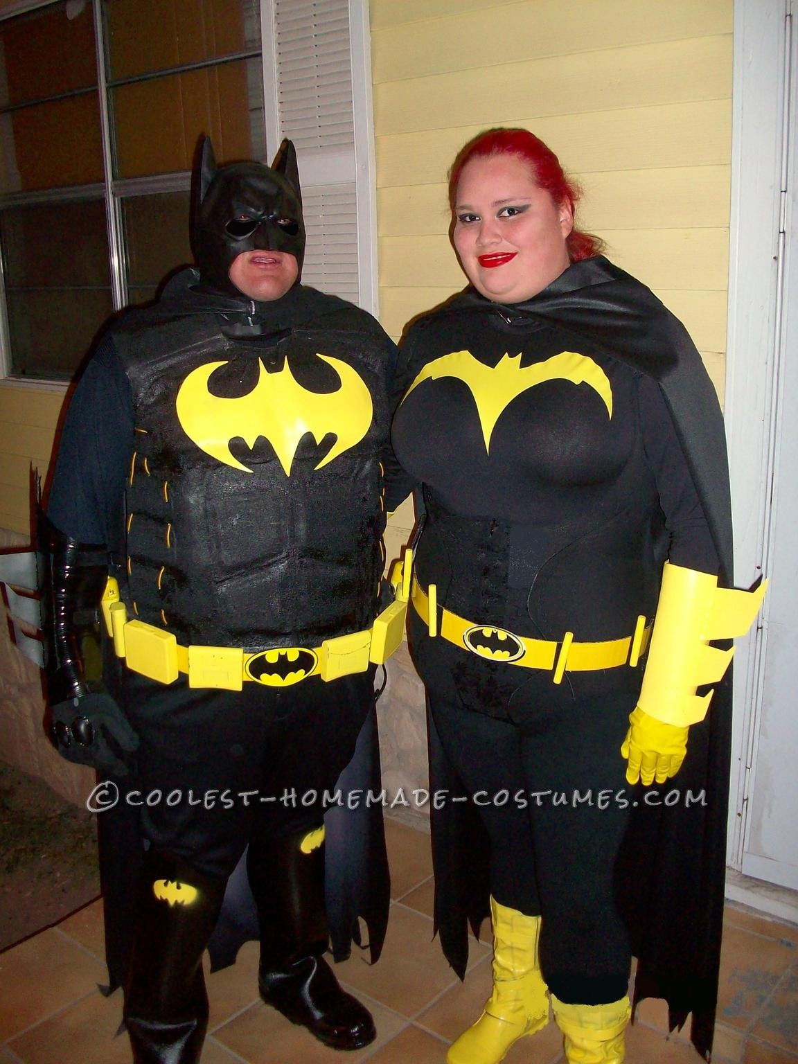 "Caped-Crusader Batman and Batgirl Couple Halloween Costumes: Our caped-crusader Batman and Batgirl Couple Halloween Costumes started a month ago. We decided to home make these special costumes.  I ""Batman "" sta"