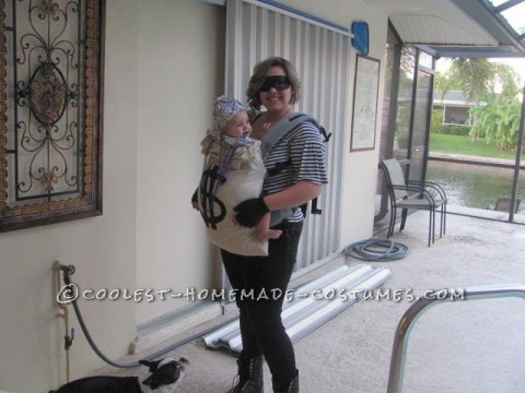I carry my 8 month old son in a carrier called a BOBA. He is usually always strapped to my back and never in a stroller. For Halloween I knew that I