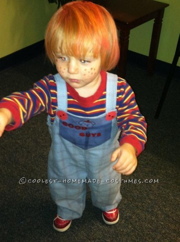 I always thought my son kind of looked like Chucky. SO I watched the original movie to see how I could make a costume. Realized that since my son was