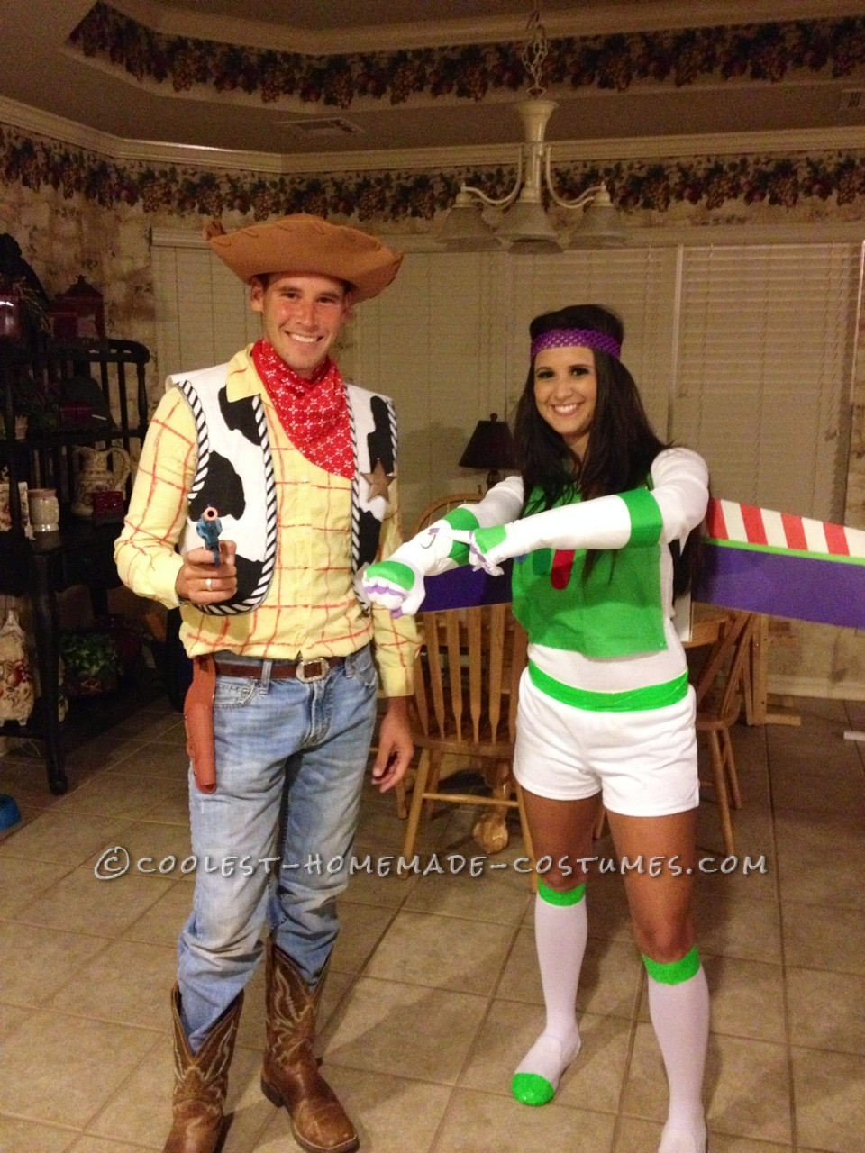 Woody was the easier costume to make out of the two. I just went out and bought a cowboy hat and a vest. My little brother had a sheriff's badg