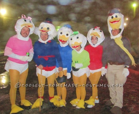 Coolest Homemade Disney Duck Family Halloween Group Costume