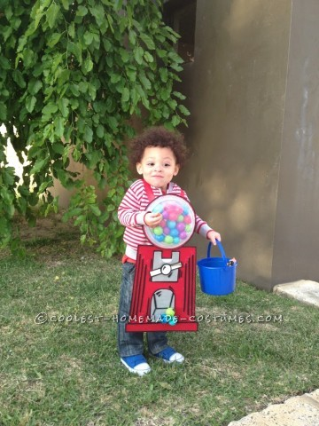 Homemade Gumball Machine Halloween Costume for a Child