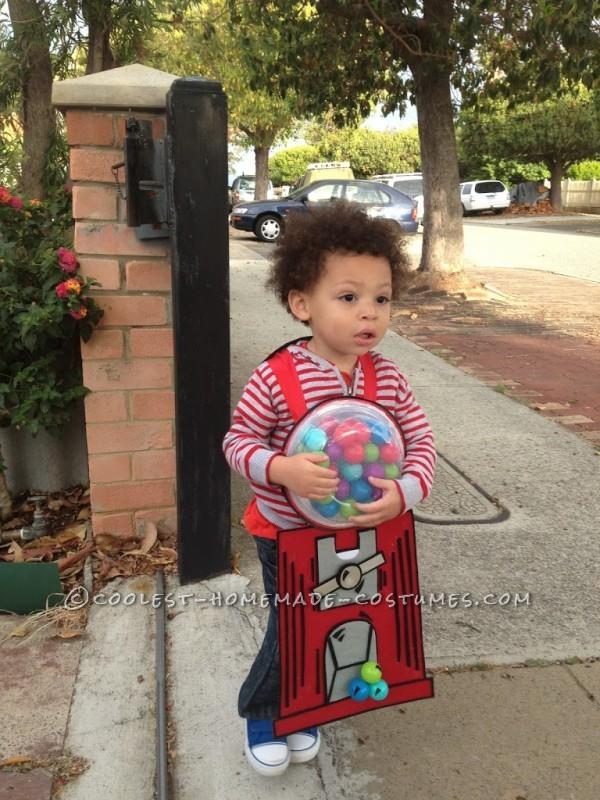 Homemade Gumball Machine Halloween Costume for a Child