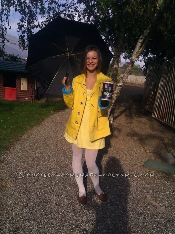 Coolest Homemade Morton Salt Girl Costume: I thought of this Morton Salt Girl costume the night before I had to dress up for Halloween at school, I was thinking, oh goodness, I have no costume