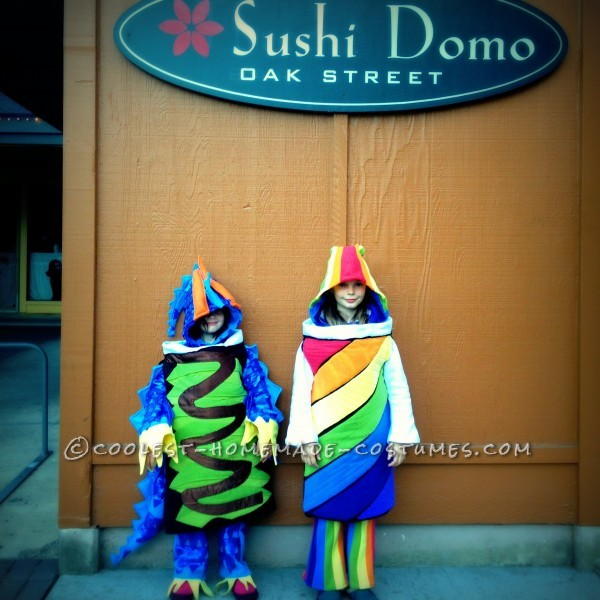 Dragon Roll & Rainbow Roll picking up some sushi