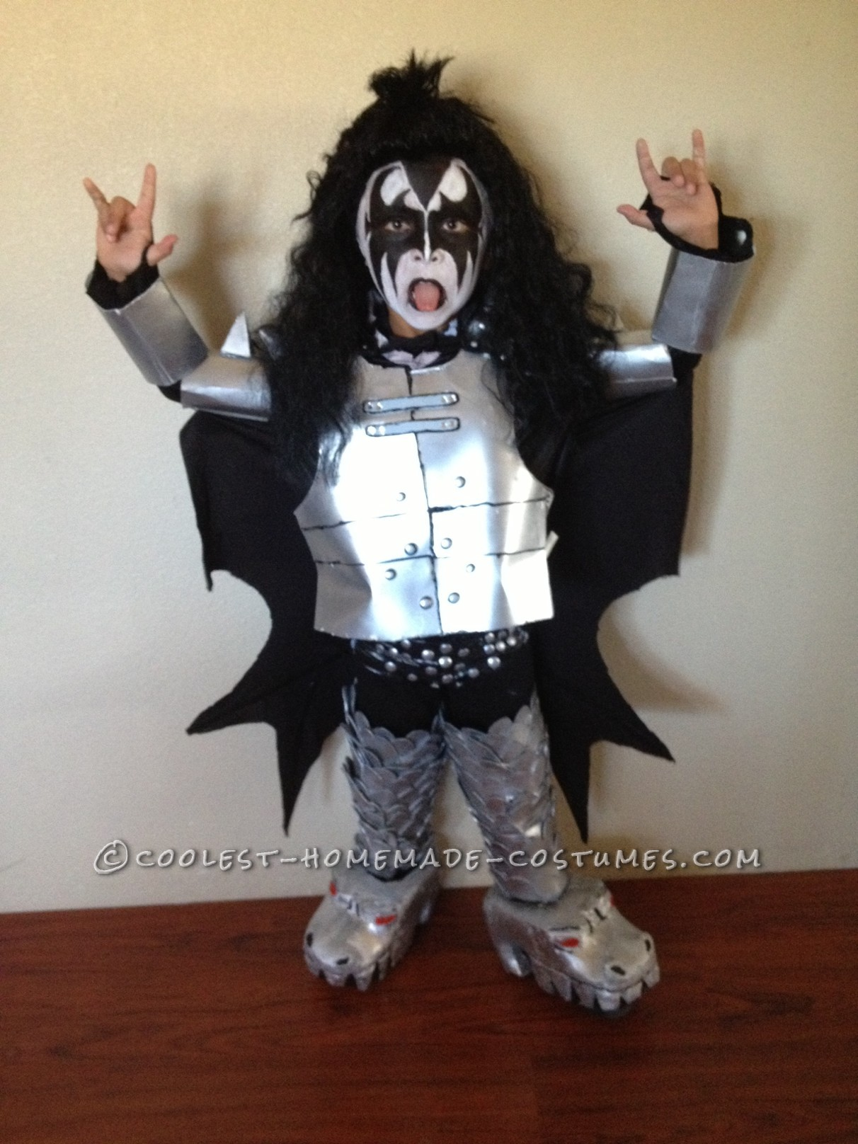 coolest kids gene simmons homemade halloween costume