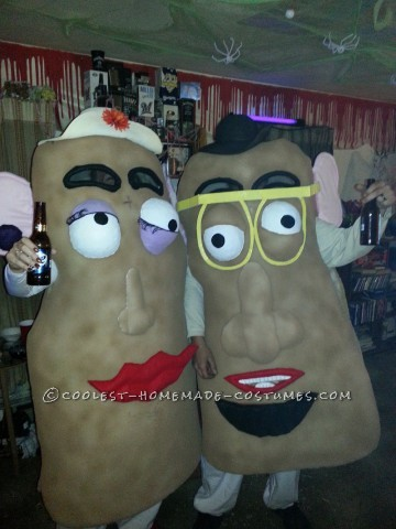 My mother in law actually made these costumes. She started with the egg crate type foam you use on top of a mattress. She cut it into a generic potat