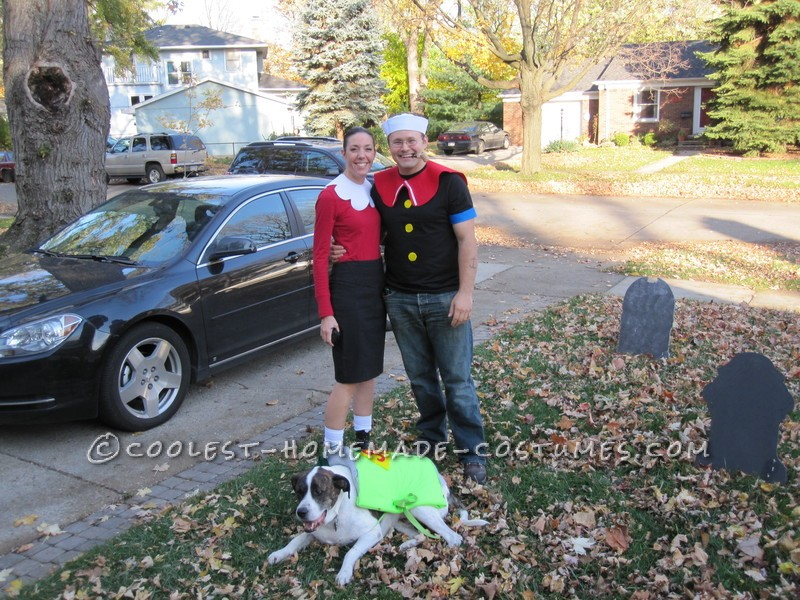 Coolest Popeye and Olive Oyl Couple Costume with a Can of Spinach Dog!
