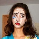 Crying Girl Face Painting Based on Roy Lichtenstein's Lithograph