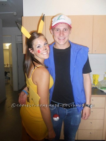 Cute Ash and Pikachu Couple Halloween Costume: I love Halloween, and had to make the costume for both my boyfriend and I! We shared a bond over Pokemon, and I've always wanted to be Pikachu, so the