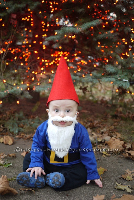 This is a gnome costume I made for my son, Max, who is six months old. I wanted to make his first halloween special by making him a unique cost