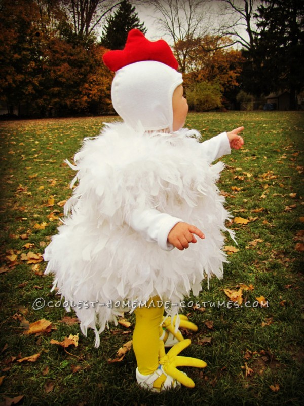 Cutest Chicken Homemade Costume: This cutest Chicken costume was originally made for my oldest daughter, 7 years ago. And it is just as cute on her baby sister, as the day she wore it