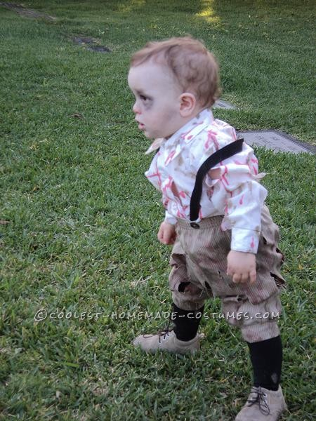 I decided to dress my 12 month old son, Jason, as a zombie after watching him walk around at Magic Mountain Fright Fest and noticing that he walked j