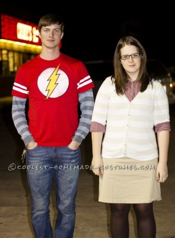 Dr. Sheldon Cooper and Amy Farrah Fowler Couple Halloween Costume: We both LOVE The Big Bang Theory TV show! One day I was on pinterest thinking about what we should be for Halloween and BOOM! I see a picture of them