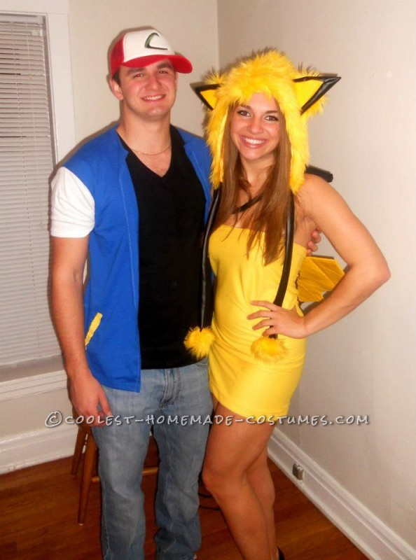 Easy Ash and Pikachu Couple Costume