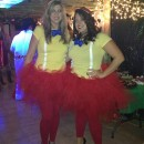 Easy Homemade Tweedle Dum and Tweedle Dee Halloween Couple Costumes: My friend and I really wanted to wear tutu's to a Halloween party this year! We did some internet searching and decided to be Tweedle Dum and Tweedle