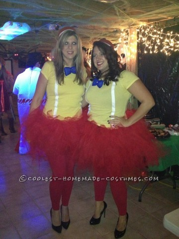 Easy Homemade Tweedle Dum and Tweedle Dee Halloween Couple Costumes