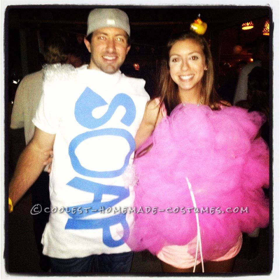 Easy and Cute Loofah and Bar of Soap Couple Costume