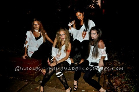 Easy Last-Minute College Girl Group Costume: Sexy Zombies