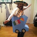 """Original Taco Truck Costume: """"El Taco Movil"""": I took two large boxes from Home Depot, cut them out in the shape of a truck. Then I spray painted all of the sides and let it dry over night. Next wa"""