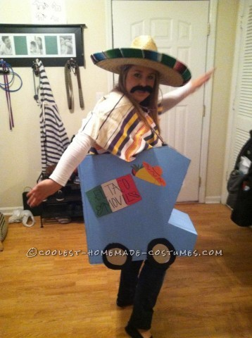 "Original Taco Truck Costume: ""El Taco Movil"": I took two large boxes from Home Depot, cut them out in the shape of a truck. Then I spray painted all of the sides and let it dry over night. Next wa"