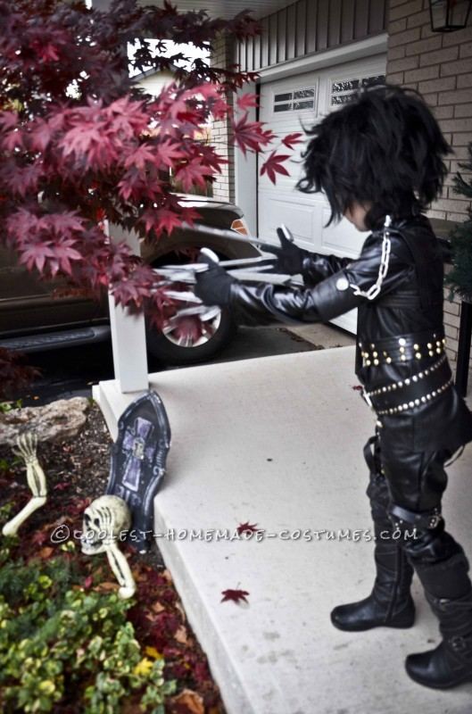 Epic Homemade Edward Scissorhands Halloween Costume for a Boy - 6