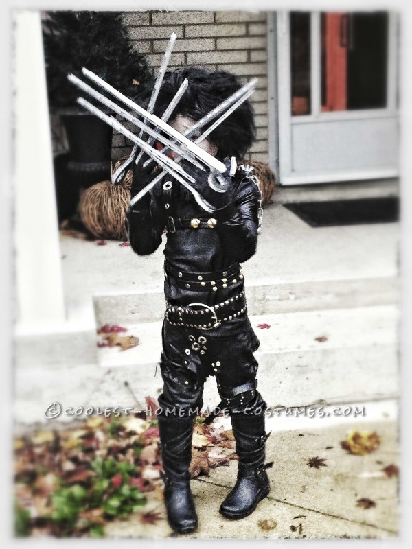 Epic Homemade Edward Scissorhands Halloween Costume for a Boy - 3