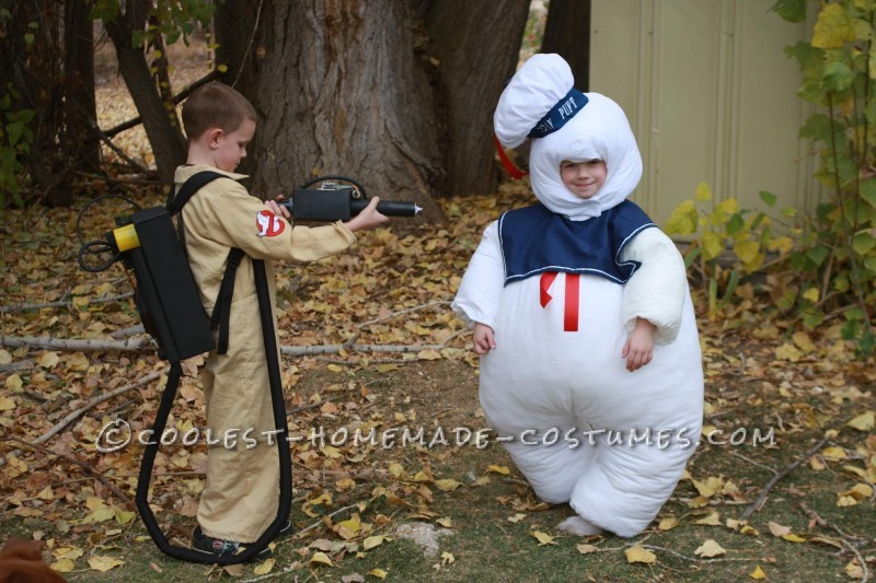 Extremely Cheap Ghostbuster and Stay Puft Child Couple Costume