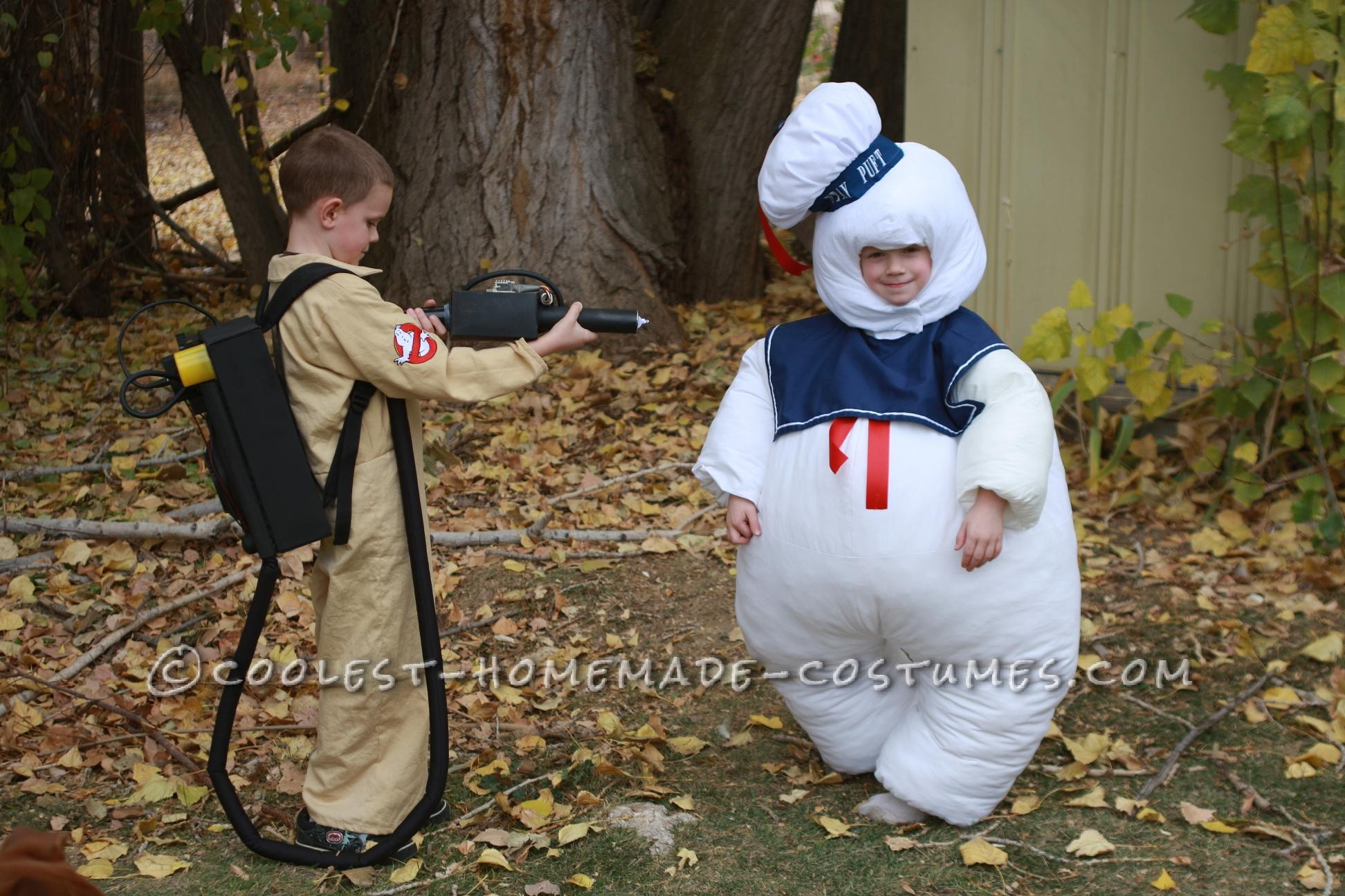 Both costumes are entirely handmade. Both costumes are made out of bed sheets and other miscellaneous fabric. Stay puft is basically two jumpsuits on