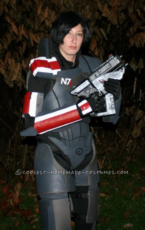 "Epic Female Commander Shepard Costume from Mass Effect: Armor (what you need): Tracing Paper Poster board 2 packs of 4 1/2"" thick Fitness floor mats or EVA foam 2yrds. of 1/2"" thick sheet foam 2mm"