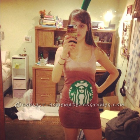 Feminine Starbucks Iced Coffee Halloween Costume: As a dedicated iced coffee drinker and student with a huge test coming up on the day before Halloween, I decided I might as well be an iced coffee.