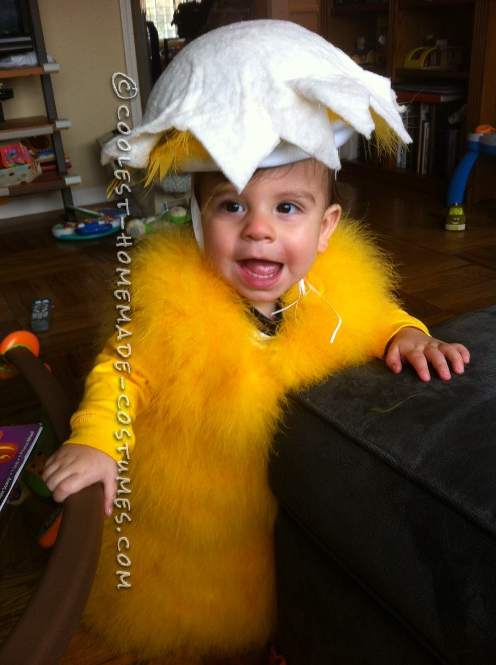 Fluffy Homemade Baby Chick Costume for Infant: Baby Jude is nearly 10 months old, and I wasn't sure if he would be walking by the time Halloween came around.  I also wanted to make him a costume