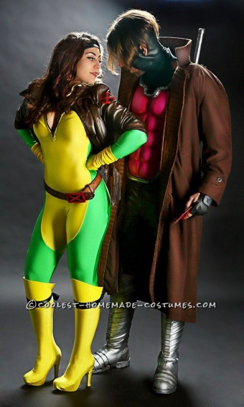ideas coolest-homemade   Coolest Gambit and Rogue Couple CostumeX Men Rogue Costume Ideas