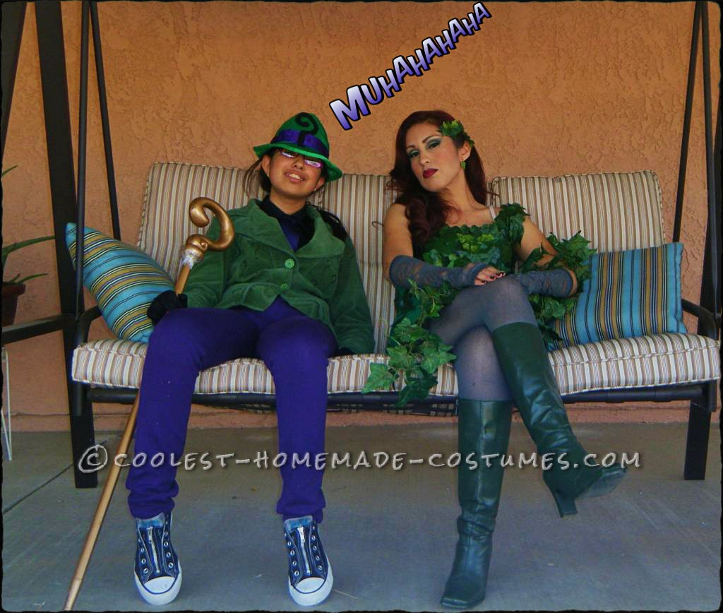 Gothams Coolest Villains: Poison Ivy and The Riddler: My daughter wanted to be The Riddler so I decided to make one for her. Found the hat a Party City, blazer at a thrift store, cane we had to buy online