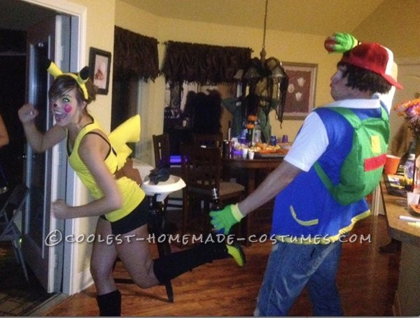 Great Pikachu and Ash Couple Halloween Costume: Well, this costumePikachu and Ash couple Halloween costume took about a total of two weeks to make. First, I started off at our local thrift store a