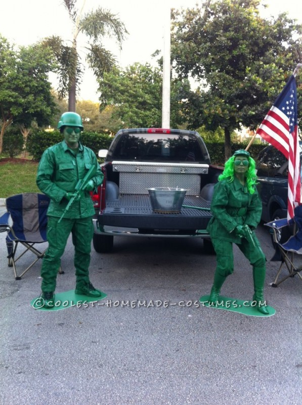 Green Army Soldiers Couple Costume - 1