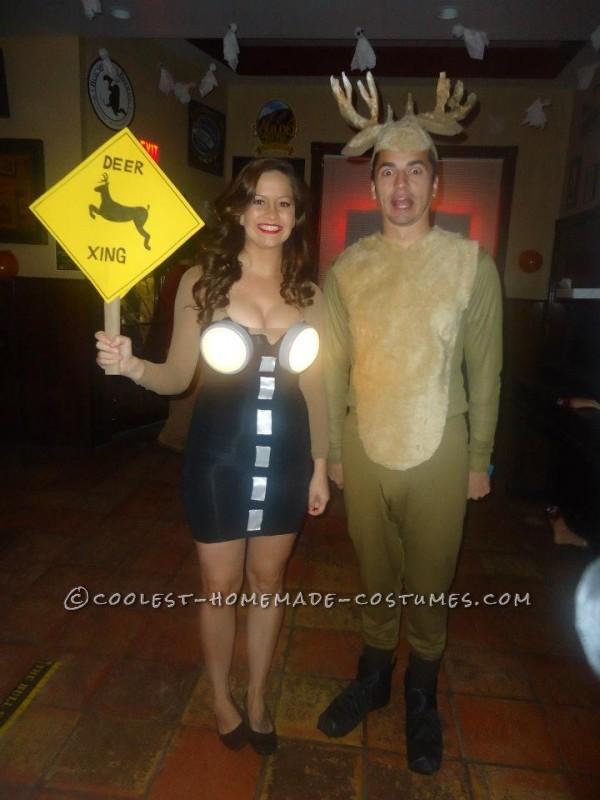 Hilarious Deer in Headlights Couple Costume