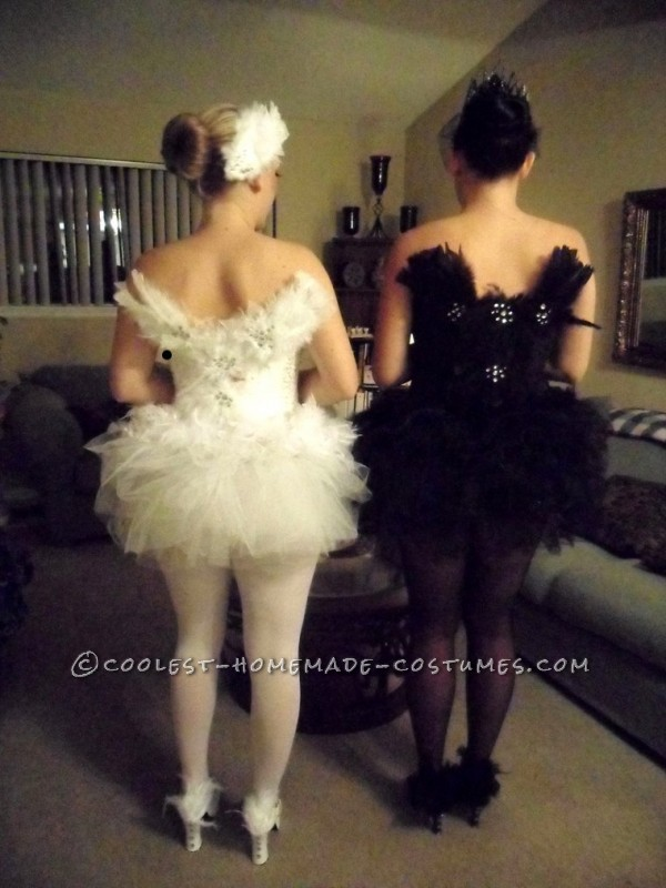 Homemade Black Swan and White Swan Couple Halloween Costumes