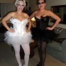 Homemade Black Swan and White Swan Couple Halloween Costumes