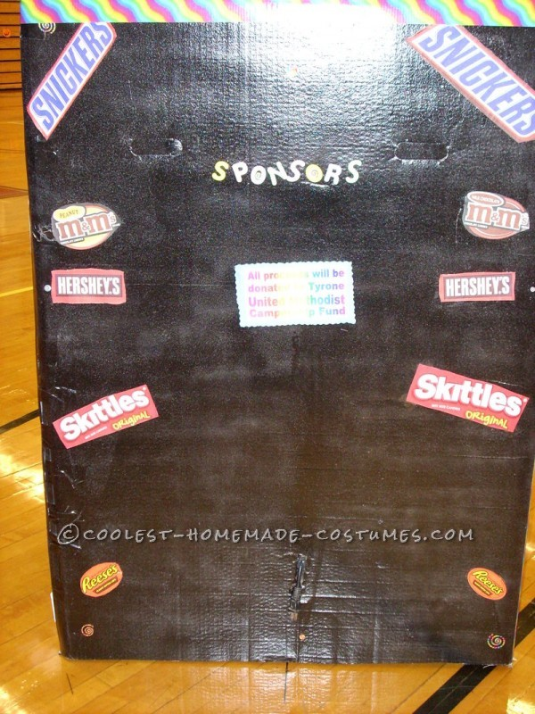 Homemade Vending Machine Costume that Actually Dispenses Candy
