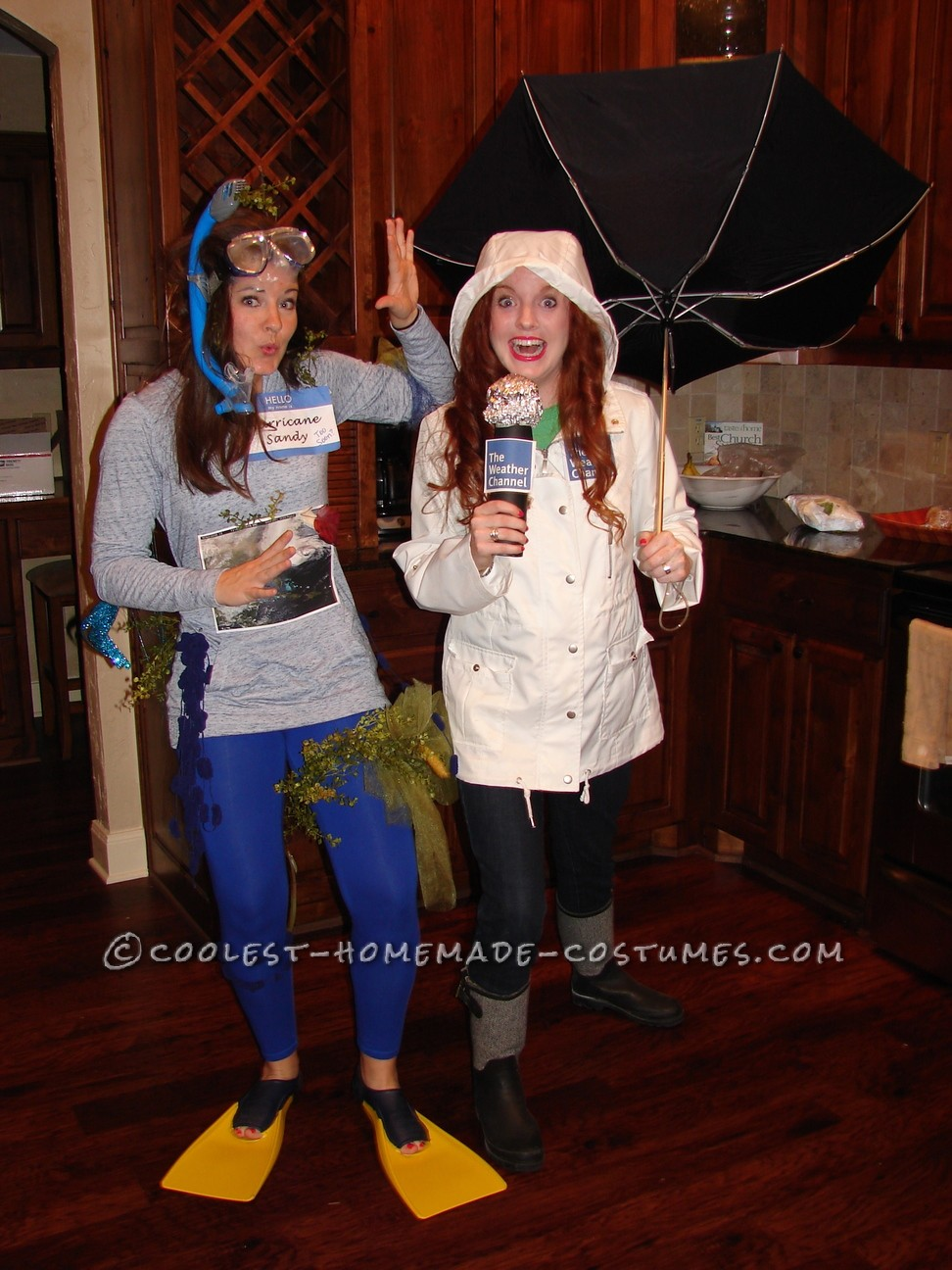Hurricane Sandy and a Weather Channel Reporter Couple Halloween Costume