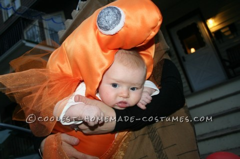 My daughter was only 3 months old, but I wanted to include her in my crazy tradition of weird Halloween costumes. I'm not sure where the idea