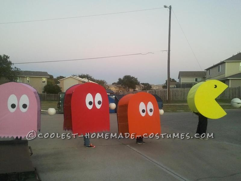 The colored side of Pinky, Blinky, and Clyde, chasing Pac-Man