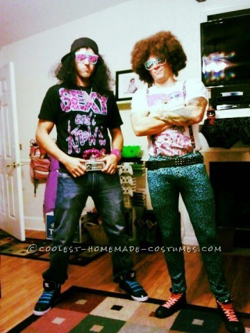 Cool LMFAO Redfoo and SkyBlue Couple Halloween Costume: My friend and I thought it would be cool to be LMFAO Redfoo and SkyBlue. It took us about two weeks to get our costumes. We got the wigs and my tights