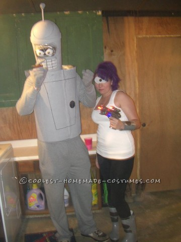 Bender:  Small Trash Can for head spray painted grey Stryofoam ball eyes  Chest Peice was a molding for cement bought at local hardware