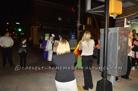 LEGO Minifigure Group Costume: Batman Heroes and Villains: These Batman Heroes and Villains costumes were a ton of work but so much fun to wear. We strolled down the streets downtown and people were shriekin