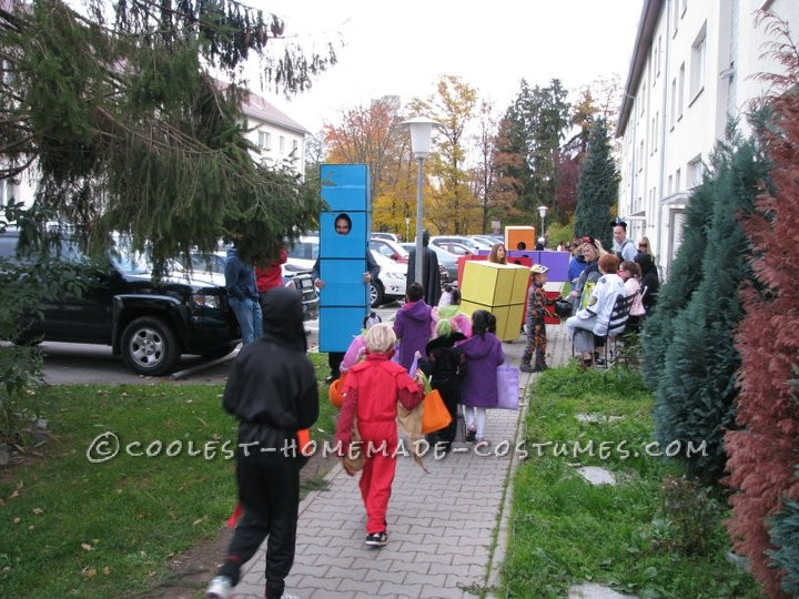 The chaos of giant tetrenomes moving through the trick-or-treaters.